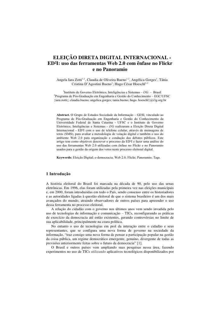 ELEIÇÃO DIRETA DIGITAL INTERNACIONAL -ED²I: uso das ferramentas Web 2.0 com ênfase no Flickr                    e no Panor...