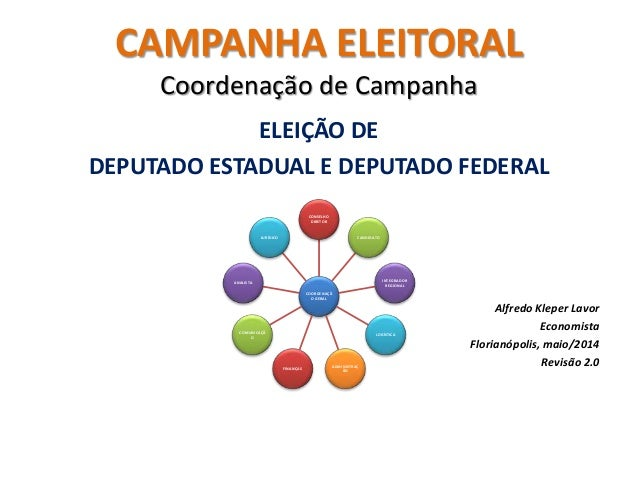 CAMPANHA ELEITORAL Coordenação de Campanha ELEIÇÃO DE DEPUTADO ESTADUAL E DEPUTADO FEDERAL Alfredo Kleper Lavor Economista...