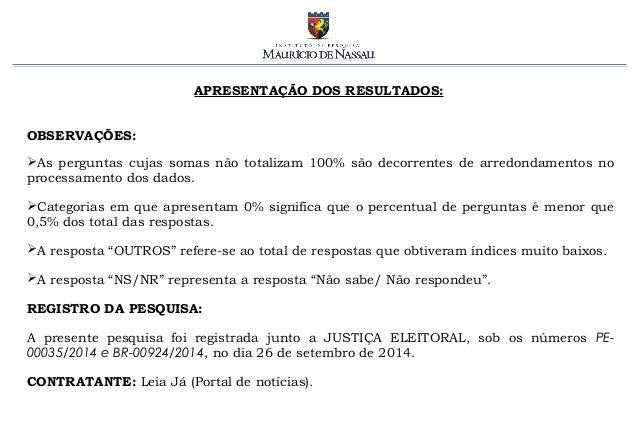 Pesquisa Eleitoral PE - parte 1 - governador e senador [02/10] Slide 3