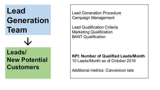 Lead Generation Team Leads/ New Potential Customers  Lead Generation Procedure Campaign Management Lead Qualification Cri...
