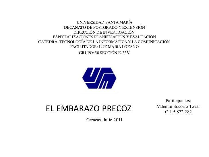 UNIVERSIDAD SANTA MARÍA<br />DECANATO DE POSTGRADO Y EXTENSIÓN<br />DIRECCIÓN DE INVESTIGACIÓN <br />ESPECIALIZACIONES PLA...