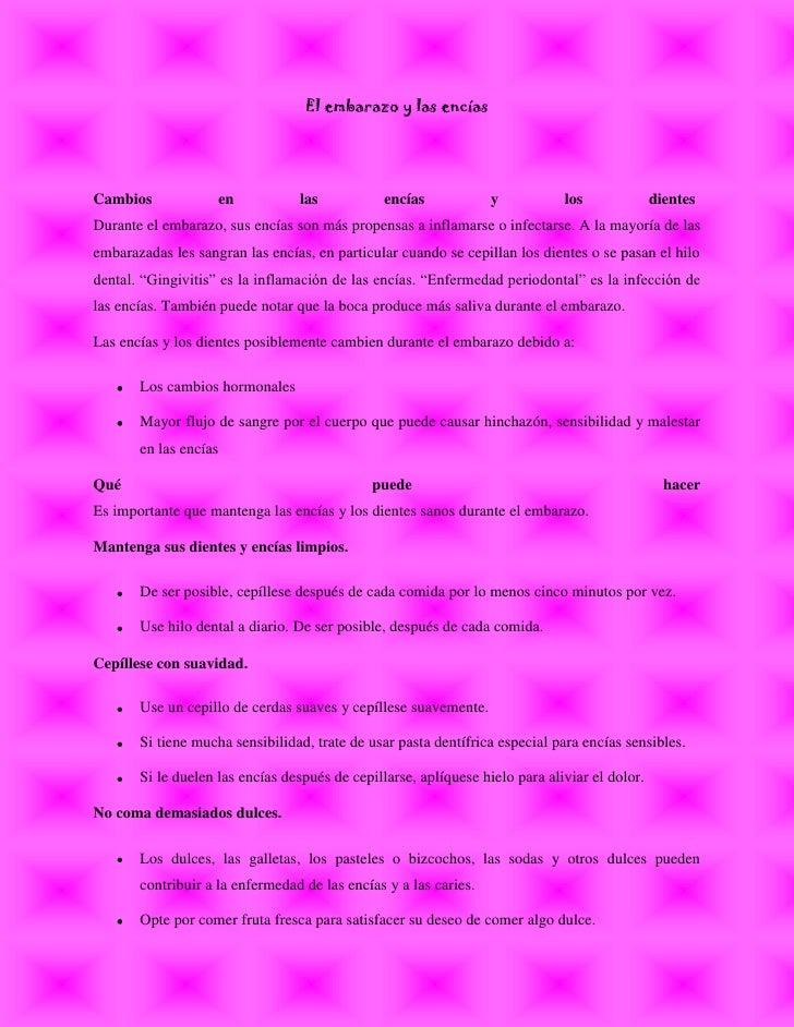 """El embarazo y las encías<br />Cambios en las encías y los dientes INCLUDEPICTURE """"http://www.nacersano.org/images/spc.gif..."""