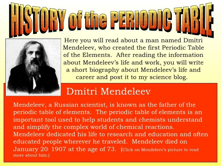 Element adventure web quest history of the periodic table urtaz Images