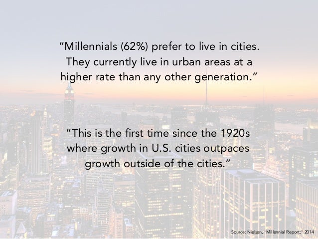 """""""Millennials (62%) prefer to live in cities. They currently live in urban areas at a higher rate than any other generation..."""