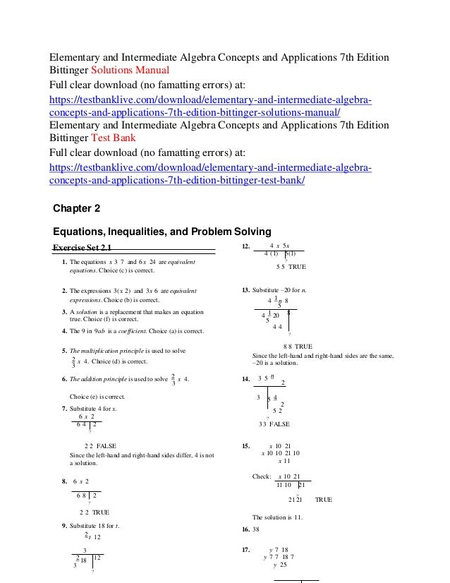 Elementary and intermediate algebra concepts and applications 7th edi elementary and intermediate algebra concepts and applications 7th edition bittinger solutions manual full clear download fandeluxe Images