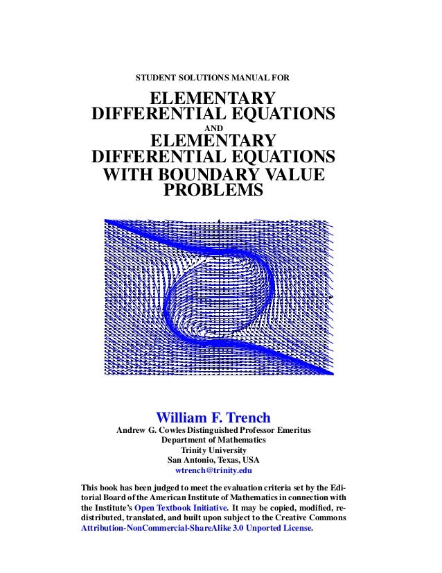 Elementary differential equations with boundary value problems soluti…