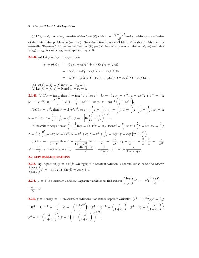 Elementary differential equations with boundary value problems soluti – Differential Equations Worksheet