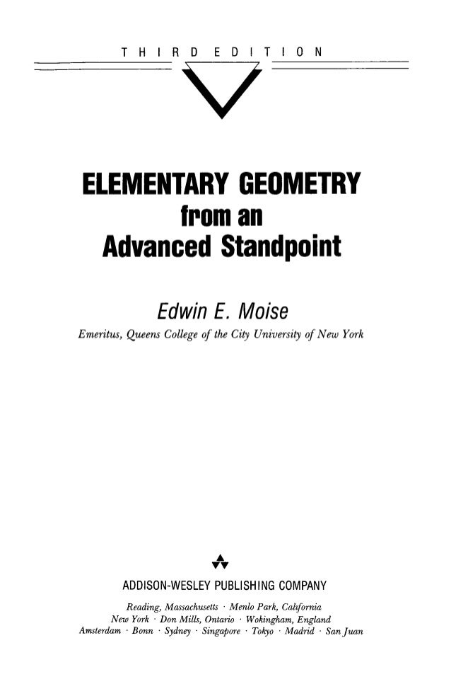 Elementary geometry from an advanced standpoint(Geometría Elemental D…