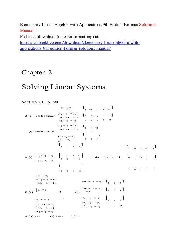 Elementary Linear Algebra 9th Edition Solutions Pdf