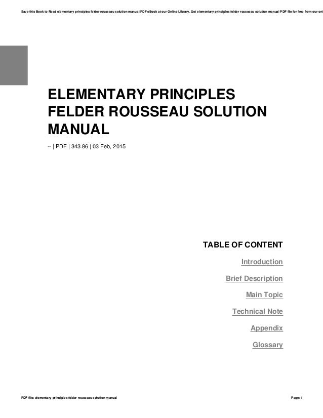 Elementary Principles Felder Rousseau Solution Manual
