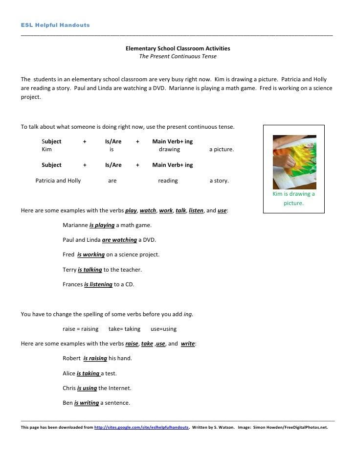 ESL Helpful Handouts-Elementary School Classroom Activities