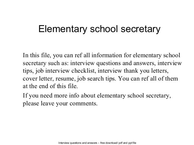 Good Interview Questions And Answers U2013 Free Download/ Pdf And Ppt File  Elementary School Secretary In ... Pertaining To Resume For School Secretary
