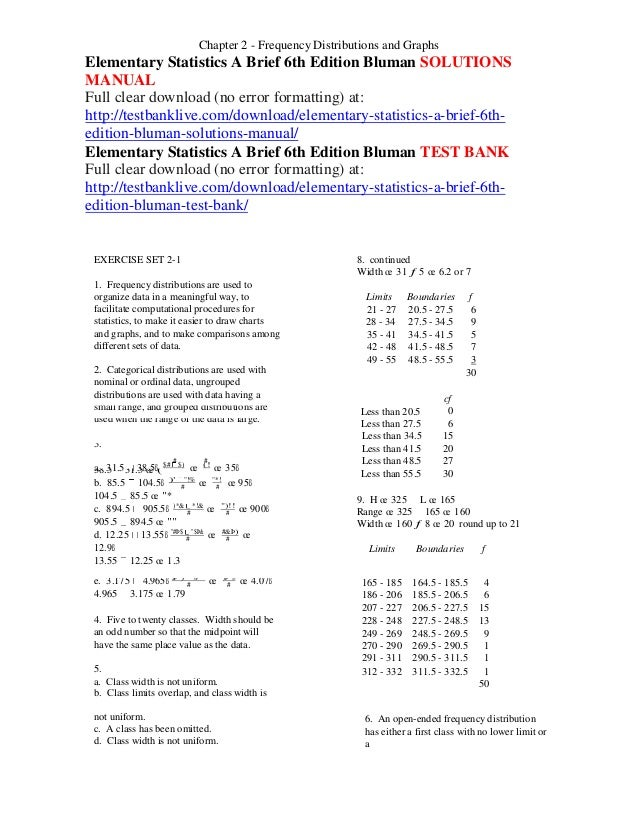 Elementary statistics a brief 6th edition bluman solutions manual elementary statistics a brief 6th edition bluman solutions manual chapter 2 frequency distributions and graphs facilitate computational procedures for 21 fandeluxe Image collections