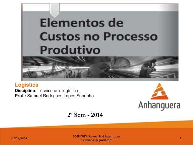02/12/2014  SOBRINHO, Samuel Rodrigues Lopes  ssobrinhoo@gmail.com  1  Logística  Disciplina: Técnico em logística  Prof.:...