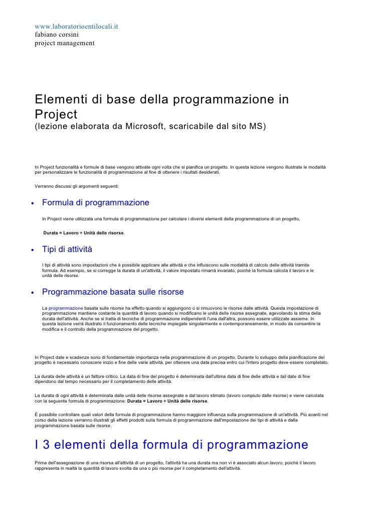 www.laboratorioentilocali.it     fabiano corsini     project management         Elementi di base della programmazione in  ...