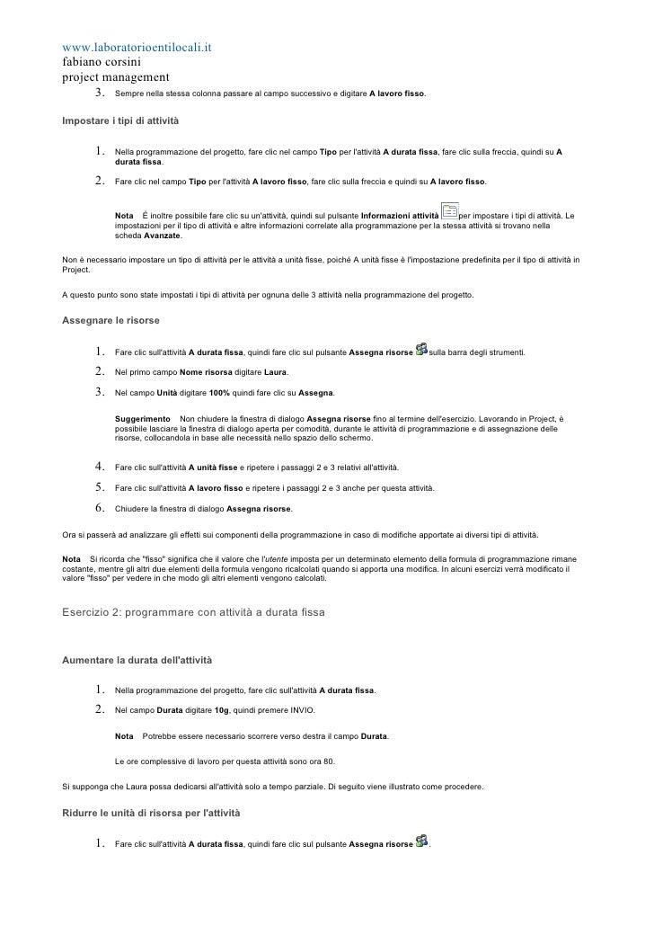 www.laboratorioentilocali.it fabiano corsini project management       3. Sempre nella stessa colonna passare al campo succ...