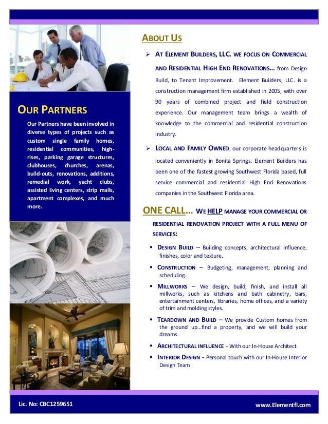 Element Builders Corporate Brochure