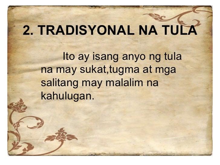 malayang taludturan Tula, elemento at uri nito 1 blangkong berso- mayroong sukat ngunit walang tugma malayang taludturan- walang tugma at sukat.