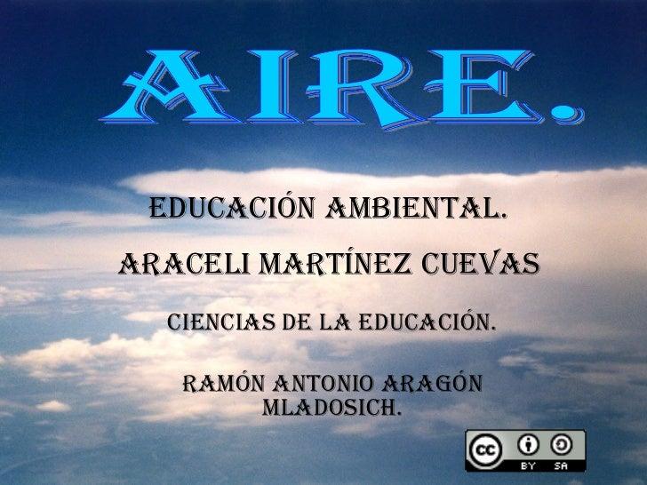 EDUCACIÓN AMBIENTAL. ARACELI MARTÍNEZ CUEVAS CIENCIAS DE LA EDUCACIÓN. RAMÓN ANTONIO ARAGÓN MLADOSICH. AIRE.