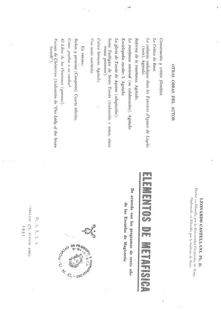 ELEMENTOS DE METAFÍSICA- P.Leonardo Castellani