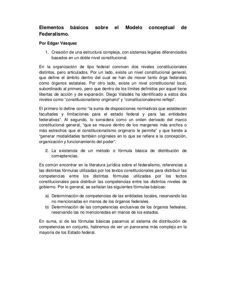 Elementos básicos               sobre      el    Modelo        conceptual        deFederalismo.Por Edgar Vásquez   1. Crea...
