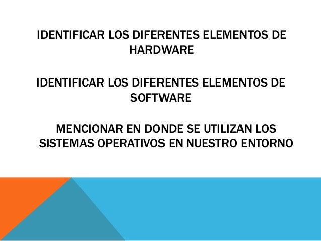 Elementos basicos y ambiente de trabajo for Elementos de hardware