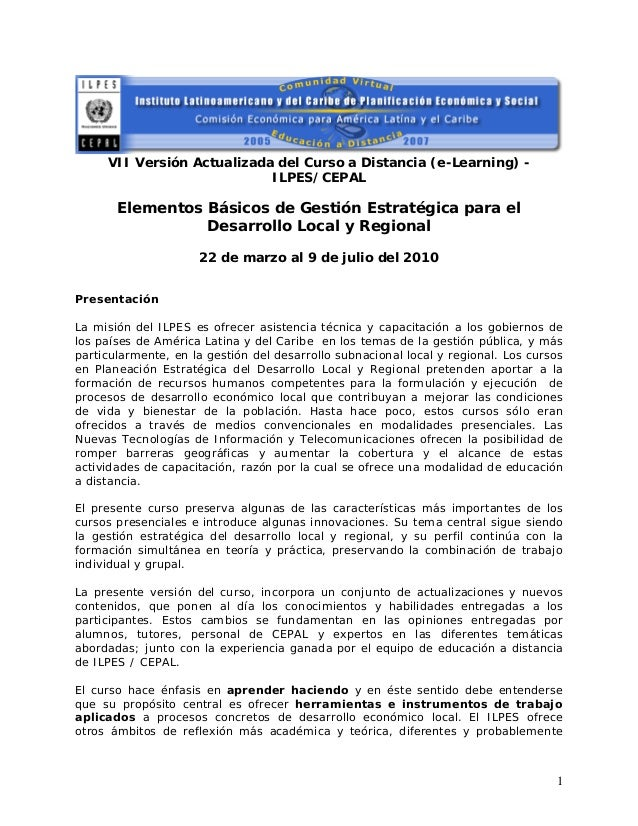 VII Versión Actualizada del Curso a Distancia (e-Learning) -ILPES/CEPALElementos Básicos de Gestión Estratégica para elDes...