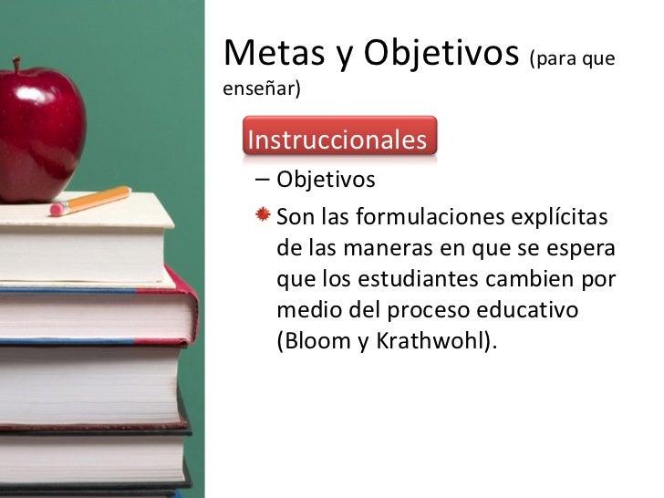 Metas y Objetivos  (para que enseñar) <ul><li>Instruccionales </li></ul><ul><ul><li>Objetivos  </li></ul></ul><ul><ul><li>...