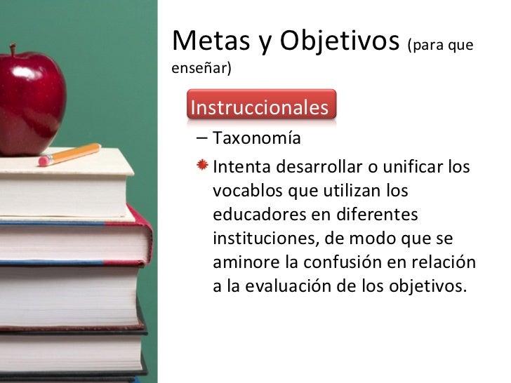 Metas y Objetivos  (para que enseñar) <ul><li>Instruccionales </li></ul><ul><ul><li>Taxonomía  </li></ul></ul><ul><ul><li>...