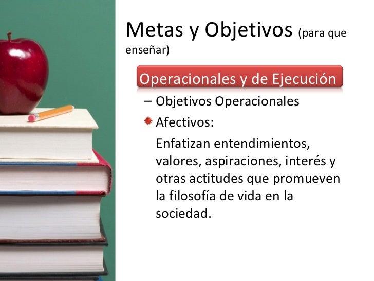 Metas y Objetivos  (para que enseñar) <ul><li>Operacionales y de Ejecución </li></ul><ul><ul><li>Objetivos Operacionales  ...