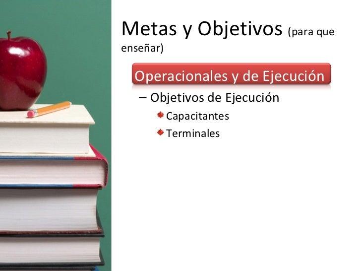 Metas y Objetivos  (para que enseñar) <ul><li>Operacionales y de Ejecución </li></ul><ul><ul><li>Objetivos de Ejecución  <...