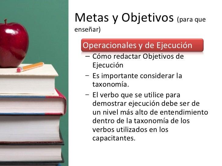 Metas y Objetivos  (para que enseñar) <ul><li>Operacionales y de Ejecución </li></ul><ul><ul><li>Cómo redactar Objetivos d...