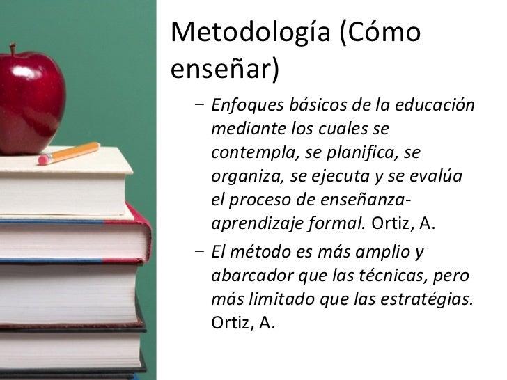 Metodología (Cómo enseñar) <ul><ul><li>Enfoques básicos de la educación mediante los cuales se contempla, se planifica, se...