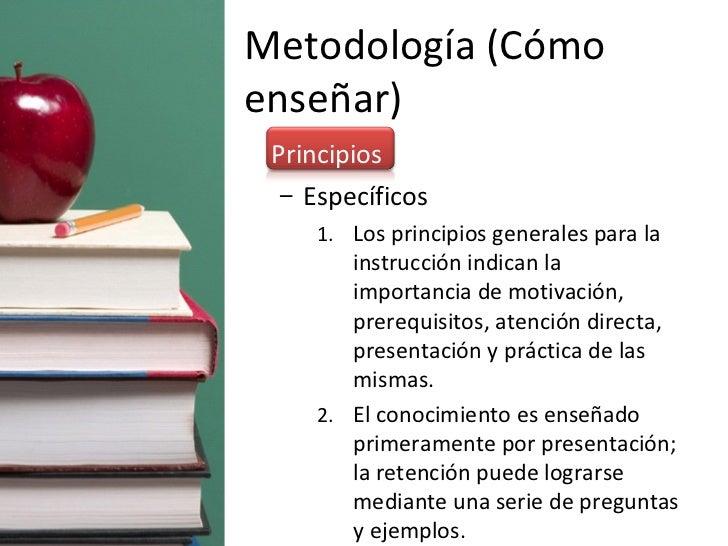 Metodología (Cómo enseñar) <ul><li>Principios </li></ul><ul><ul><li>Específicos </li></ul></ul><ul><ul><ul><li>Los princip...