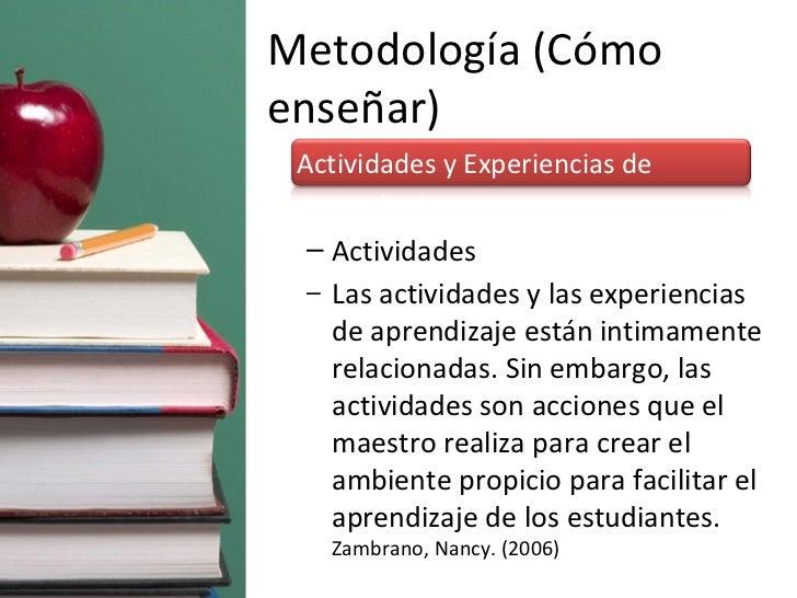 Metodología (Cómo enseñar) <ul><li>Actividades y Experiencias de Aprendizaje </li></ul><ul><ul><li>Actividades </li></ul><...