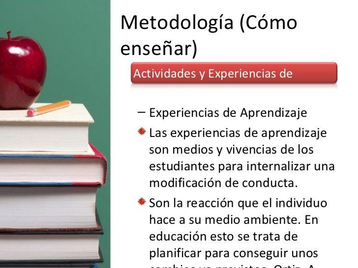 Metodología (Cómo enseñar) <ul><li>Actividades y Experiencias de Aprendizaje </li></ul><ul><ul><li>Experiencias de Aprendi...