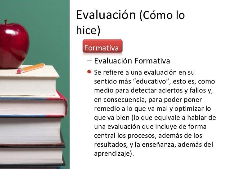 Evaluación  (Cómo lo hice) <ul><li>Formativa </li></ul><ul><ul><li>Evaluación Formativa </li></ul></ul><ul><ul><li>Se refi...