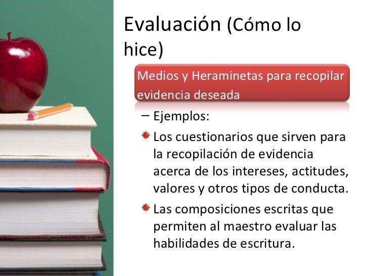 Evaluación  (Cómo lo hice) <ul><li>Medios y Heraminetas para recopilar evidencia deseada </li></ul><ul><ul><li>Ejemplos: <...