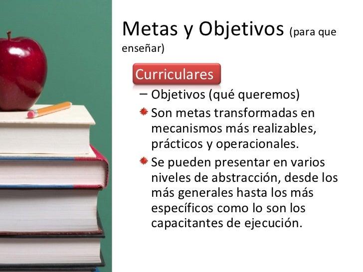 Metas y Objetivos  (para que enseñar) <ul><li>Curriculares </li></ul><ul><ul><li>Objetivos (qué queremos) </li></ul></ul><...
