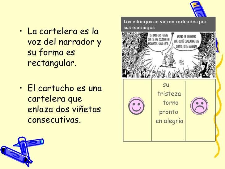 <ul><li>La cartelera es la voz del narrador y su forma es rectangular. </li></ul><ul><li>El cartucho es una cartelera que ...