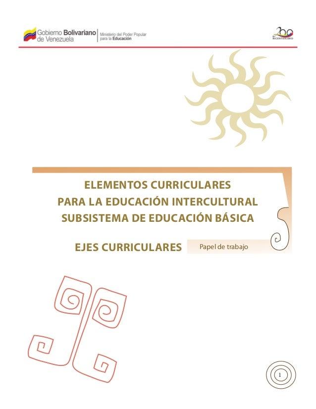 ELEMENTOS CURRICULARES PARA LA EDUCACIÓN INTERCULTURAL SUBSISTEMA DE EDUCACIÓN BÁSICA EJES CURRICULARES  Papel de trabajo ...