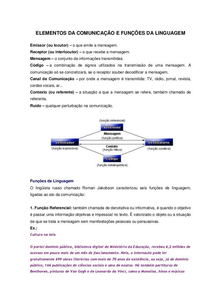 ELEMENTOS DA COMUNICAÇÃO E FUNÇÕES DA LINGUAGEMEmissor (ou locutor) – o que emite a mensagem.Receptor (ou interlocutor) – ...