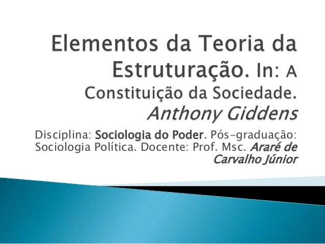 Disciplina: Sociologia do Poder. Pós-graduação: Sociologia Política. Docente: Prof. Msc. Araré de Carvalho Júnior