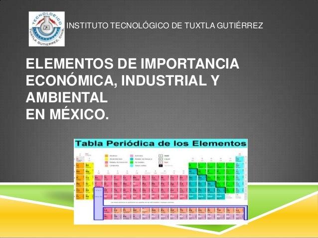 Elementos qumicos de importancia en mxico instituto tecnolgico de tuxtla gutirrez elementos de importancia econmica industrial y ambiental en mxico urtaz Image collections