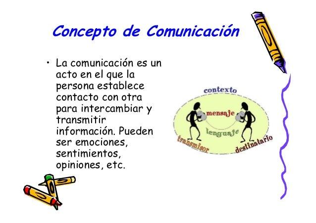 Concepto de Comunicación • La comunicación es un acto en el que la persona establece contacto con otra para intercambiar y...