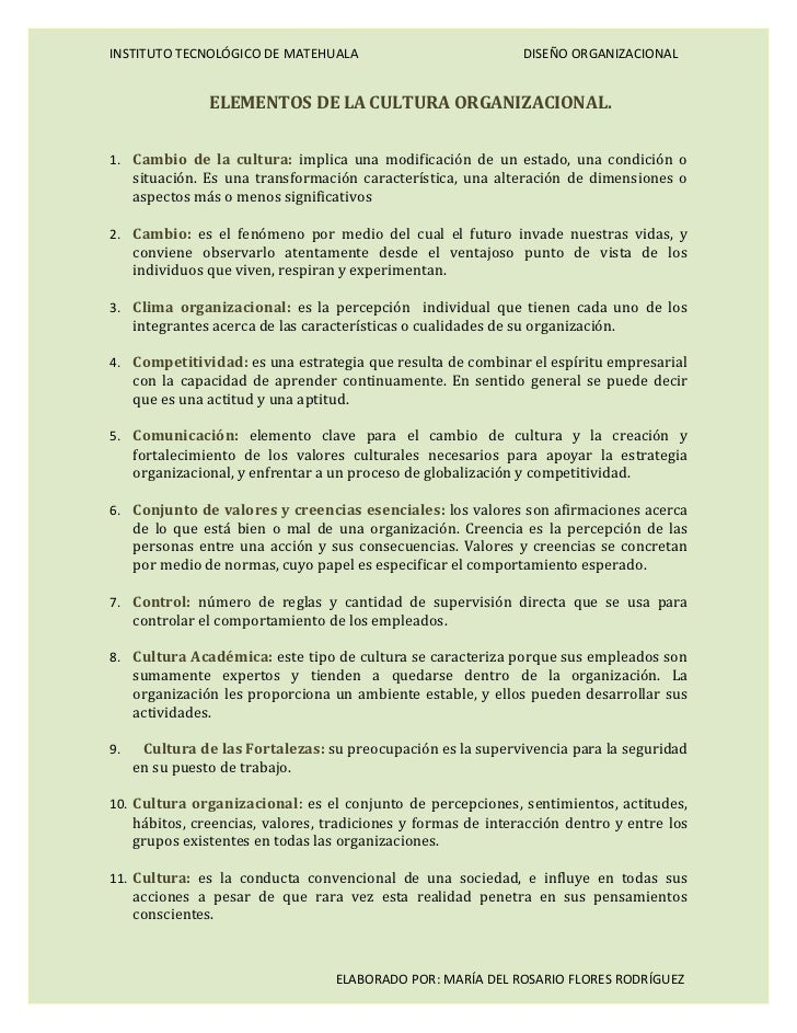 INSTITUTO TECNOLÓGICO DE MATEHUALA                              DISEÑO ORGANIZACIONAL                ELEMENTOS DE LA CULTU...