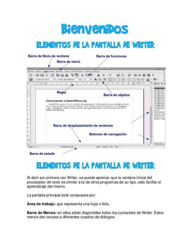 Al abrir por primera vez Writer, se puede apreciar que la ventana inicial del procesador de texto es similar a la de otros...