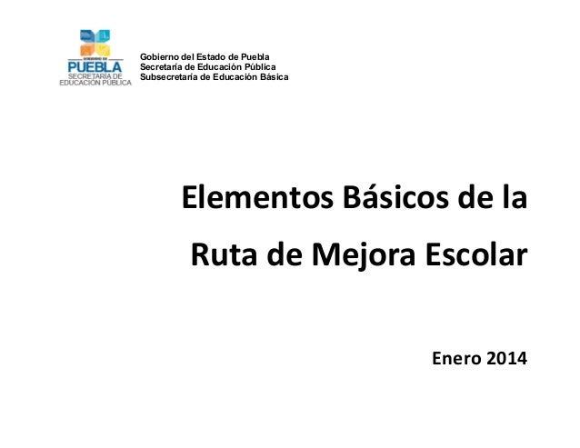 Gobierno del Estado de Puebla Secretaría de Educación Pública Subsecretaría de Educación Básica               Elem...