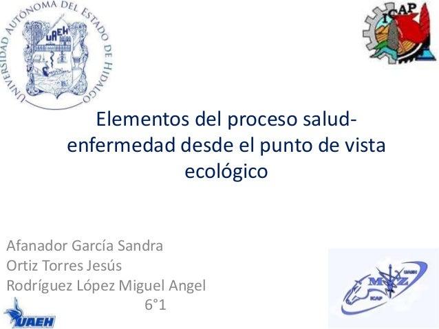 Elementos del proceso saludenfermedad desde el punto de vista ecológico  Afanador García Sandra Ortiz Torres Jesús Rodrígu...