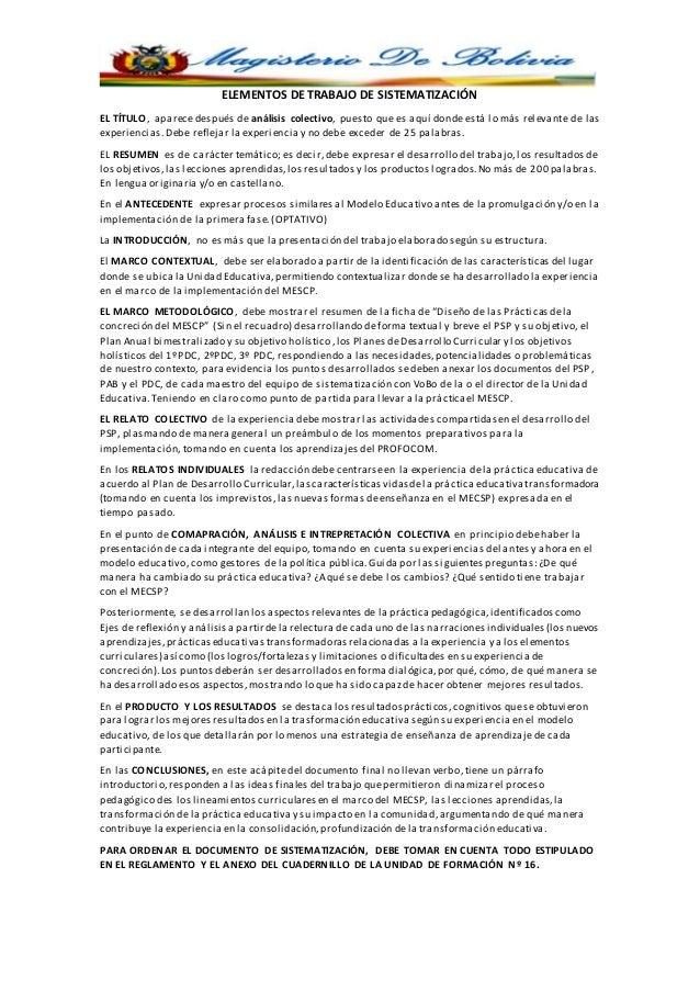 ELEMENTOS DE TRABAJO DE SISTEMATIZACIÓN EL TÍTULO, aparecedespués de análisis colectivo, puesto que es aquí donde está lo ...